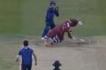 VIDEO : आंद्रे रसेल का टूट सकता था जबड़ा, 19 साल के स्पिन गेंदबाज ने मारी खतरनाक बाउंसर