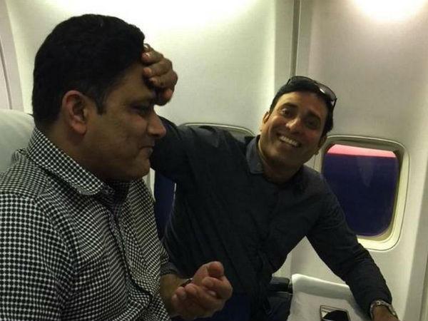 Anil Kumble celebrates 45th birthday on flight: Pics