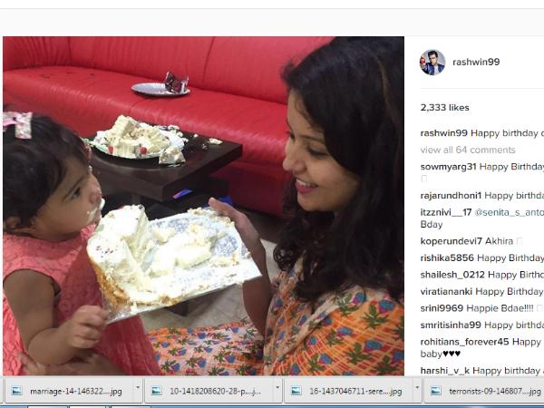 Indian Cricketer R Ashwin S Daughter Turns 1 Share Photos Instagram