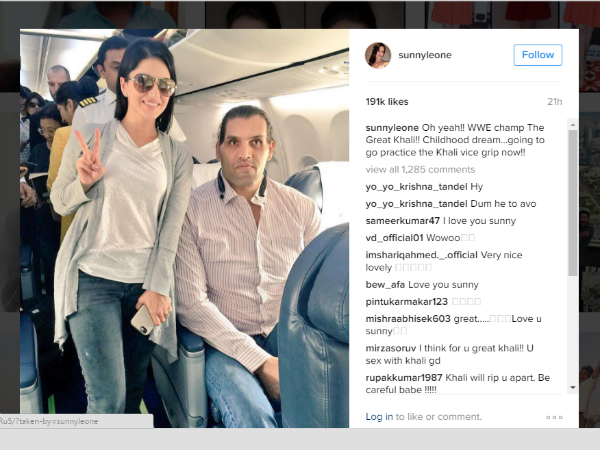 Sunny Leone S Childhood Dream Meeting The Great Khali Comes True