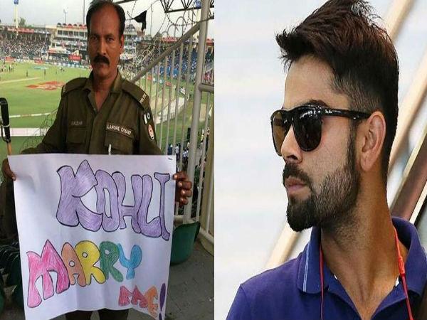 Kohli Marry Me Pakistani Policemans Placard Virat Kohli Breaking The Internet