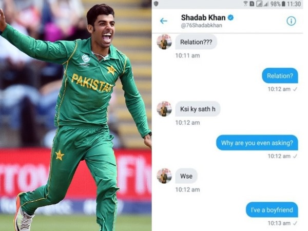 Pakistani Girl LEAKED Screenshots of shadab Khan Flirting With Her