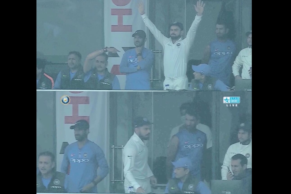 India vs Sri lanka 3rd test: Feroz Shah Kotla seen Virat kohli angry face, India declare innings on 536/7
