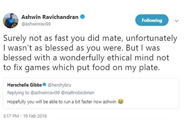 ट्विटर पर अश्विन और गिब्स के बीच नोंक झोक, अफ्रीकी दिग्गज पर कसा मैच फिक्सिंग का तंज