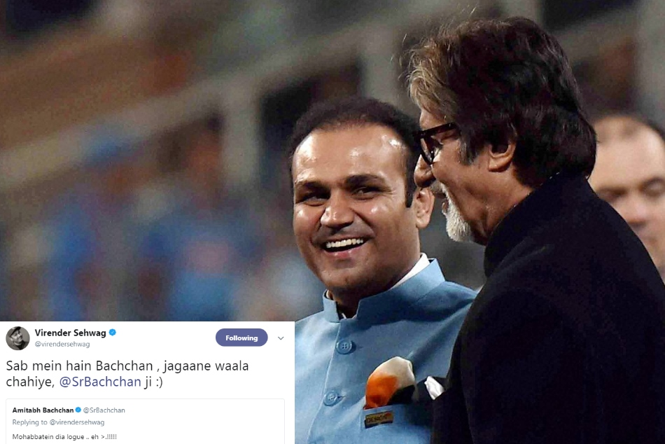 Virender Sehwag Congrats Team India Using Amitabh Bachchan Movie Dialogue Got Reply From Big B