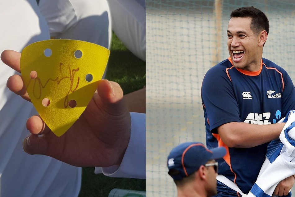 Ross Taylor Signed Piece Sandpaper Nz S Test Against England