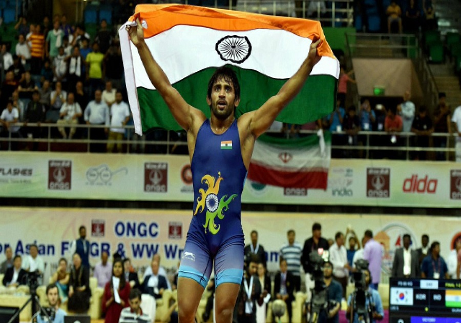 Bajrang Punia wins gold in freestyle 65 kg wrestling