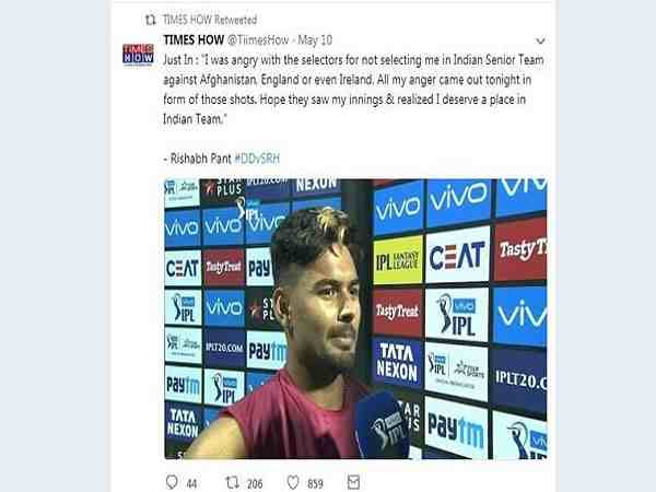 Rishabh Pant clarification on a tweet made by parody account over team selection