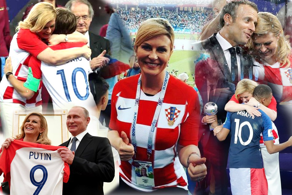 Croatian President Kolinda Grabar Supporting Her Team After