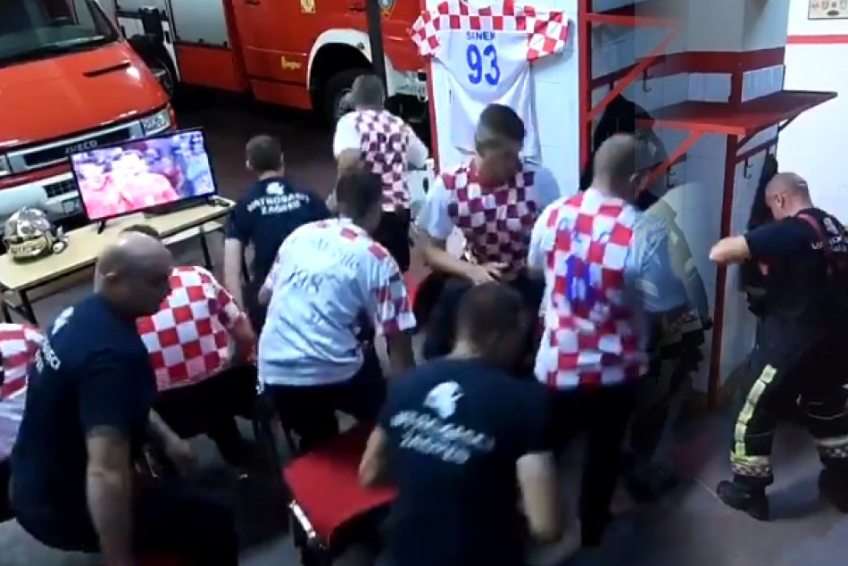 Croatian Firefighters Watching Fifa Match But Duty First