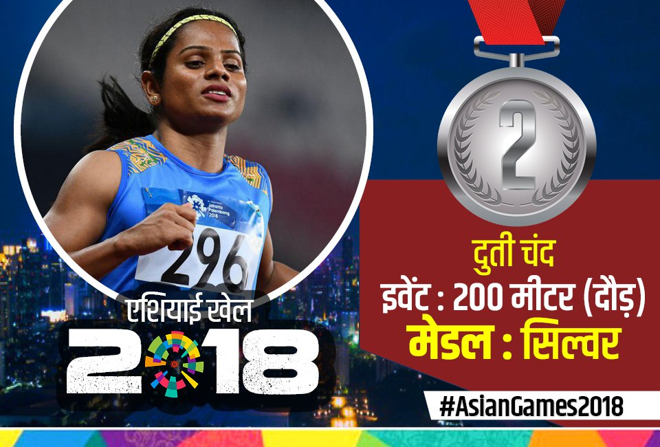 dutee chand won silver in 200 m race in asian games 2018