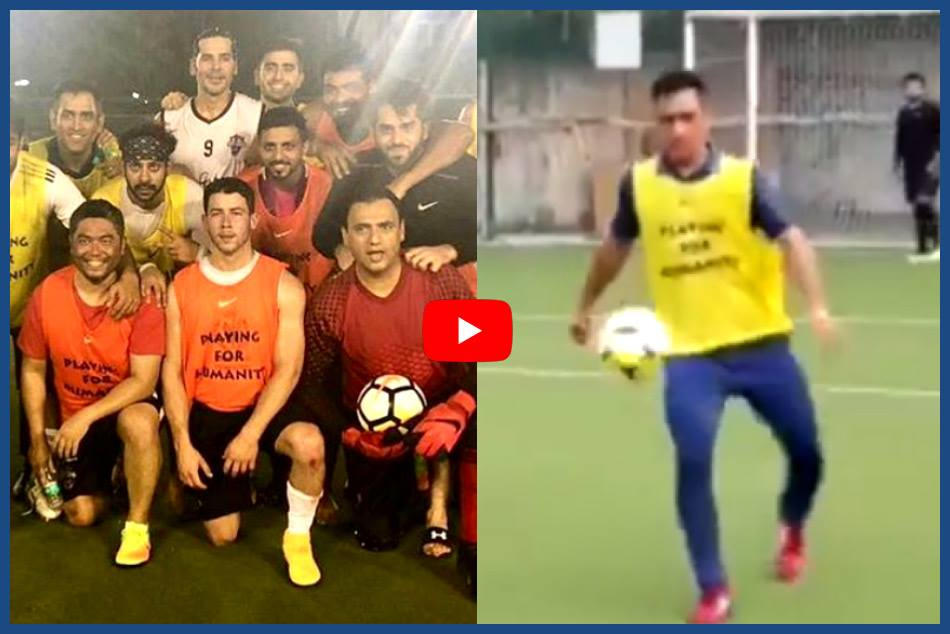 Video Nick Jonas Mahendra Singh Dhoni Seen Playing Footbal