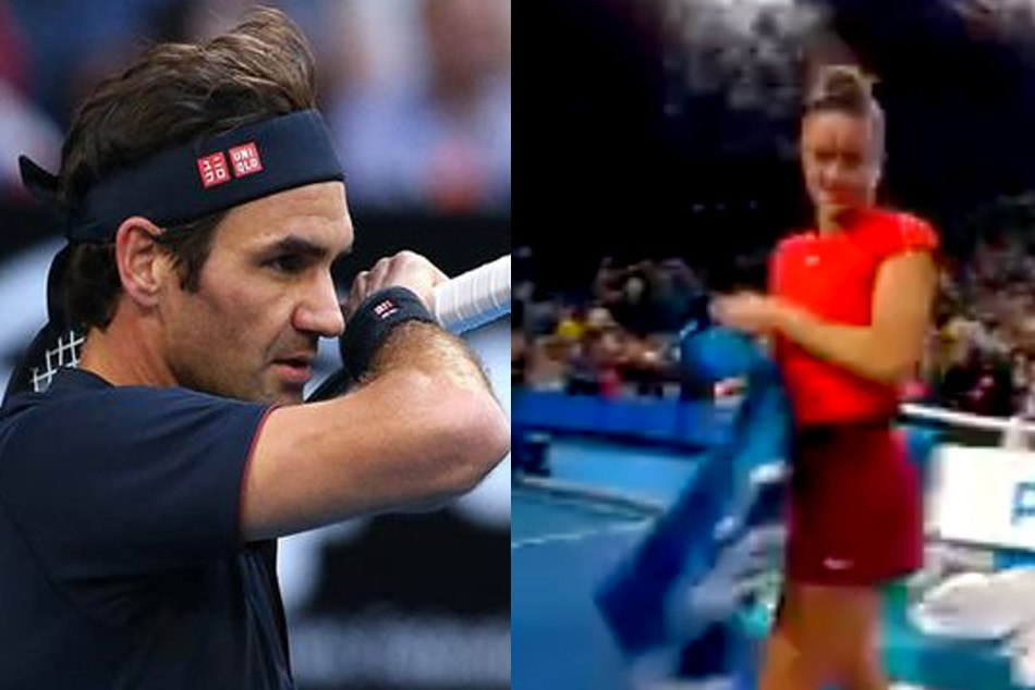 Roger federer towel is stolen by the Greece competitor maria sakkari in hopman cup
