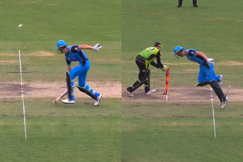 Big Bash League: billy stanlake awkward way of getting run-out in adelaide strikers vs sydney thunder match