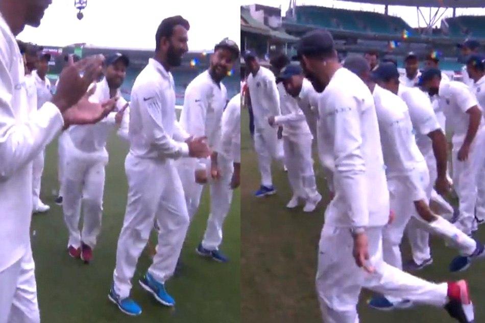 India Team Victory Dance Creates Sensation As Cheteshwar Pujara Is Forced By Rishabh Pant