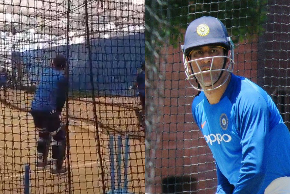 MS dhoni practices hard despite raining in Australia before the one day series