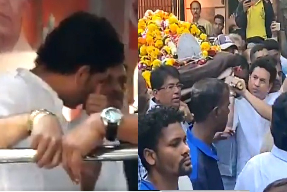 sachin tendulkar cried at the ramakant achrekar funeral see the video