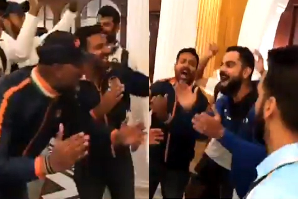 india cricket team is warm welcomed by song and dance of bharat army fans