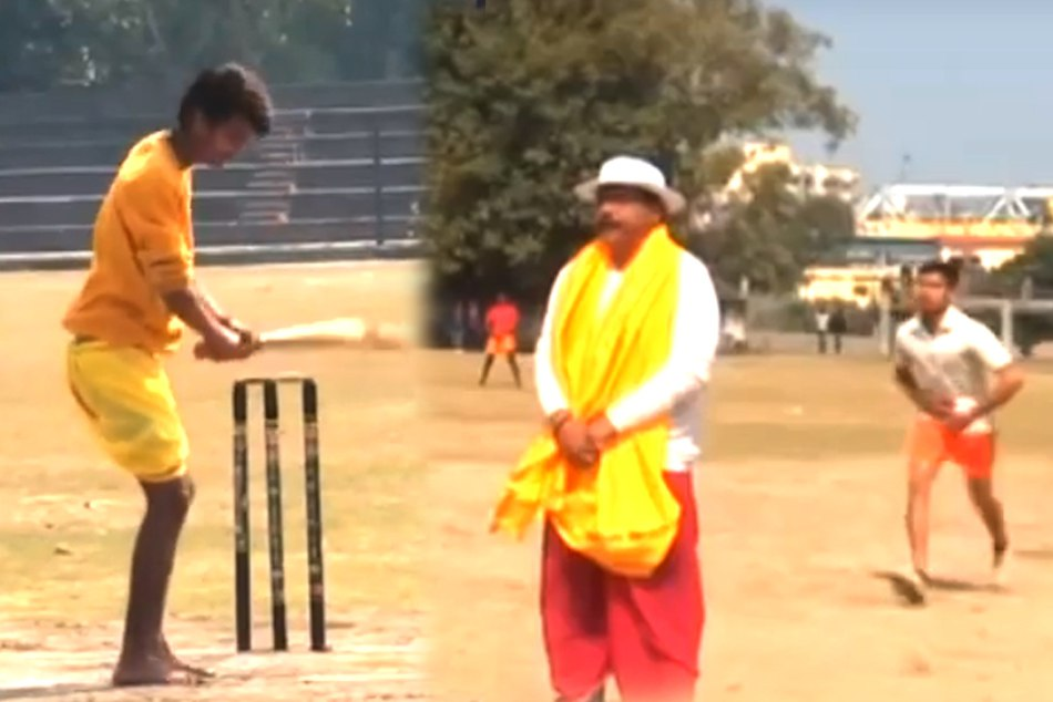 Cricketers In Dhoti Kurta, Sanskrit Commentary: Cricket tournament like this is a first in the India