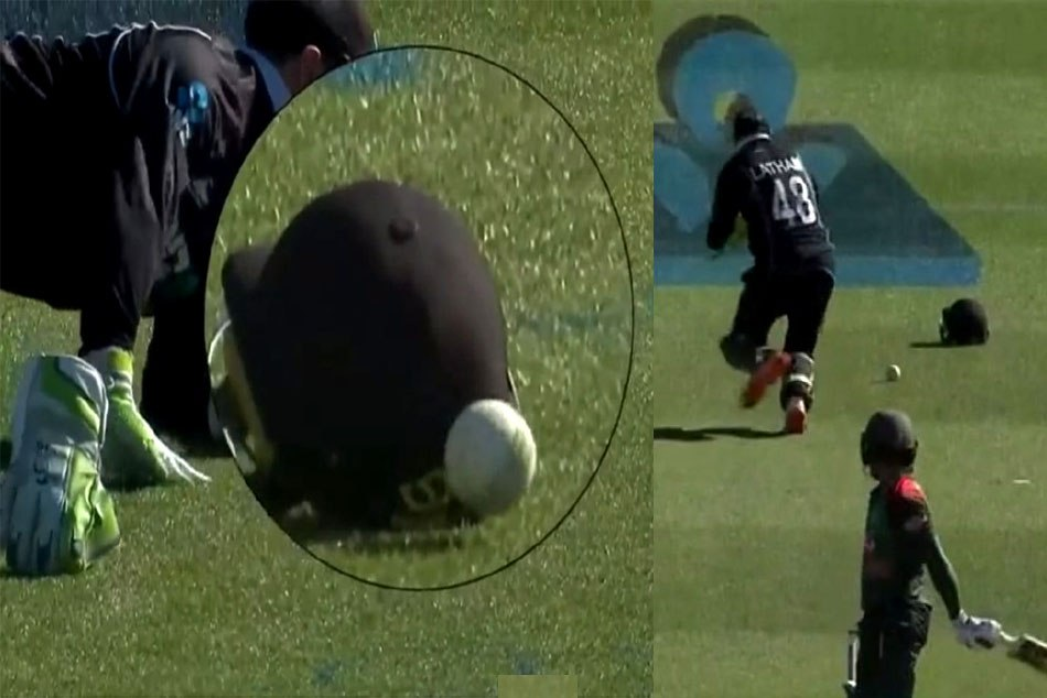 VIDEO: New Zealand concede five penalty runs after ball hits the helmet