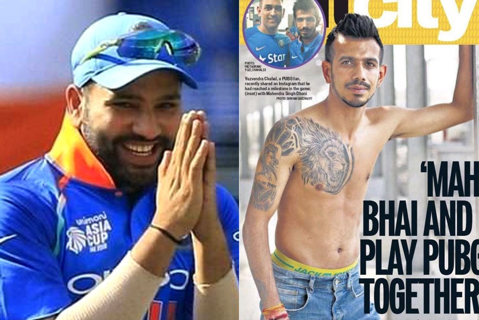 Rohit sharma made fun of yuzvendra chahal new shirt less pic