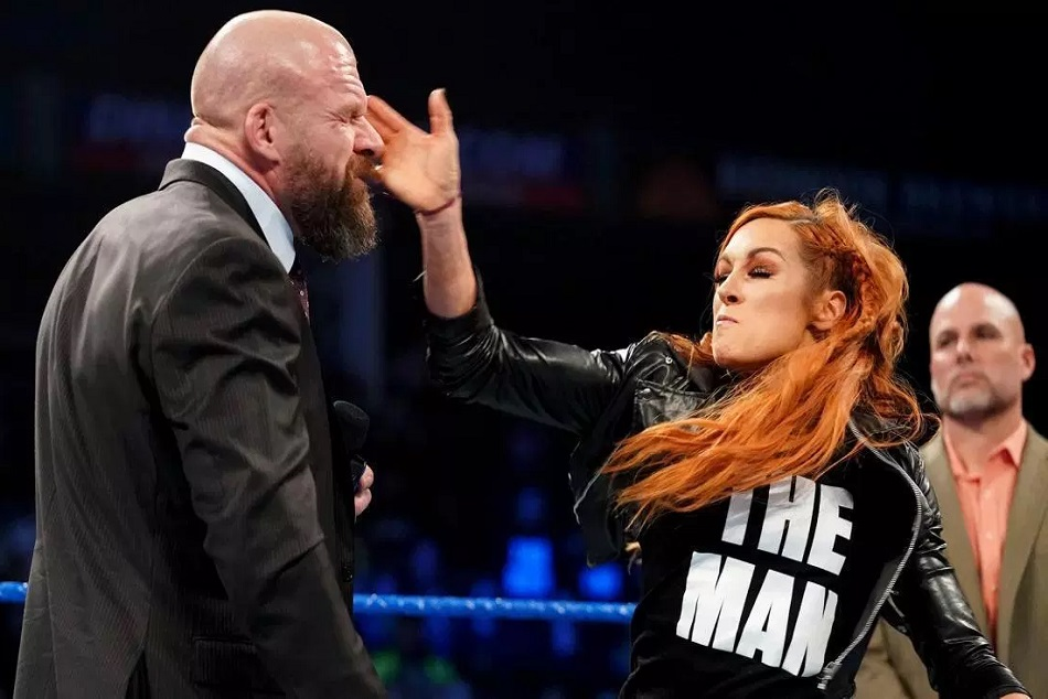 Suspended Becky Lynch Slaps Wwe Chief Triple H