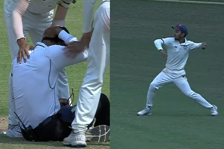 Umpire Nandan hit on head by the ball in Irani Cup, Watch Video