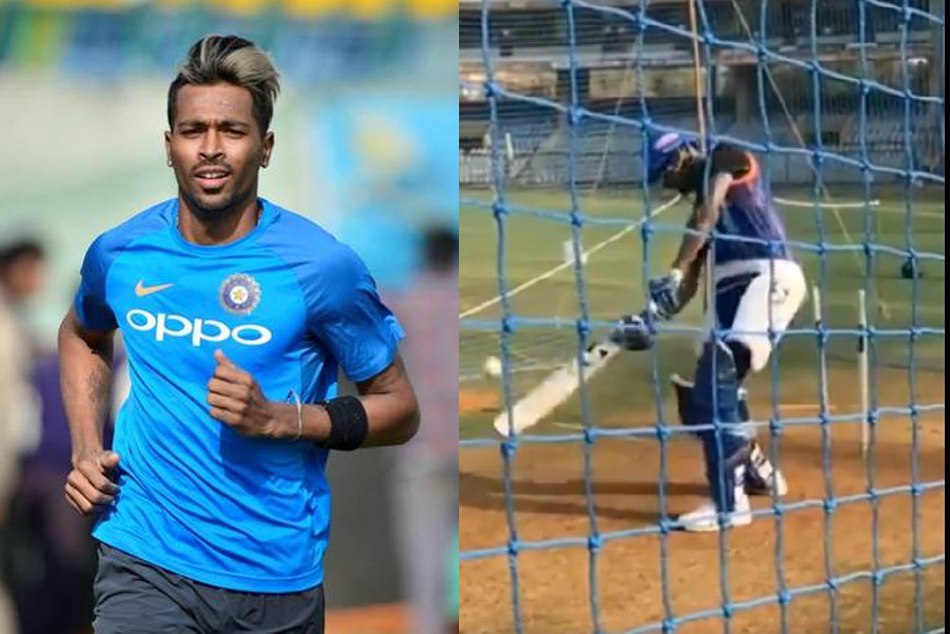 IPL 2019: Hardik Pandya is seen as playing MS Dhonis Helicopter shot in Mumbai Indians camp
