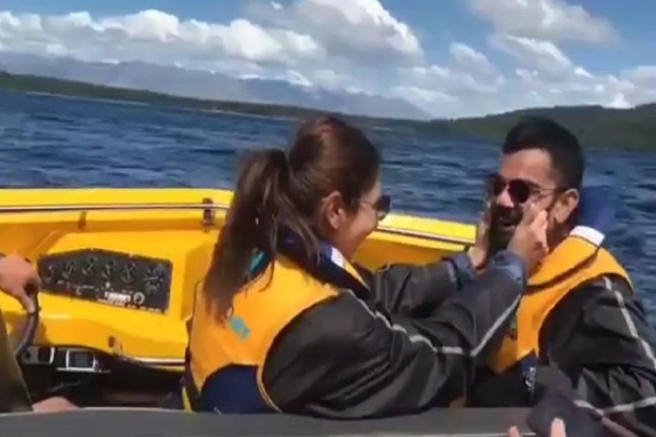 Anushka Pulls Virat Kohli Cheeks While Boatriding