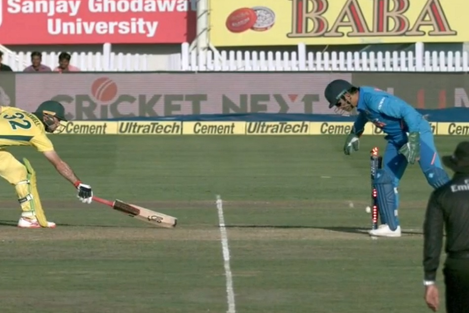 Indvsaus Dhoni Jadeja Did An Stunning Run Of Glenn Maxwell Video