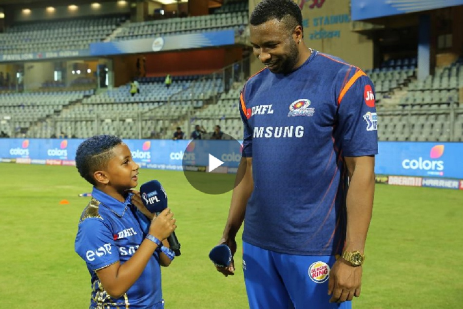 Ipl 2019 Kieron Pollard Celebrates His Heroic Knock With Son Dedicated It To Wife