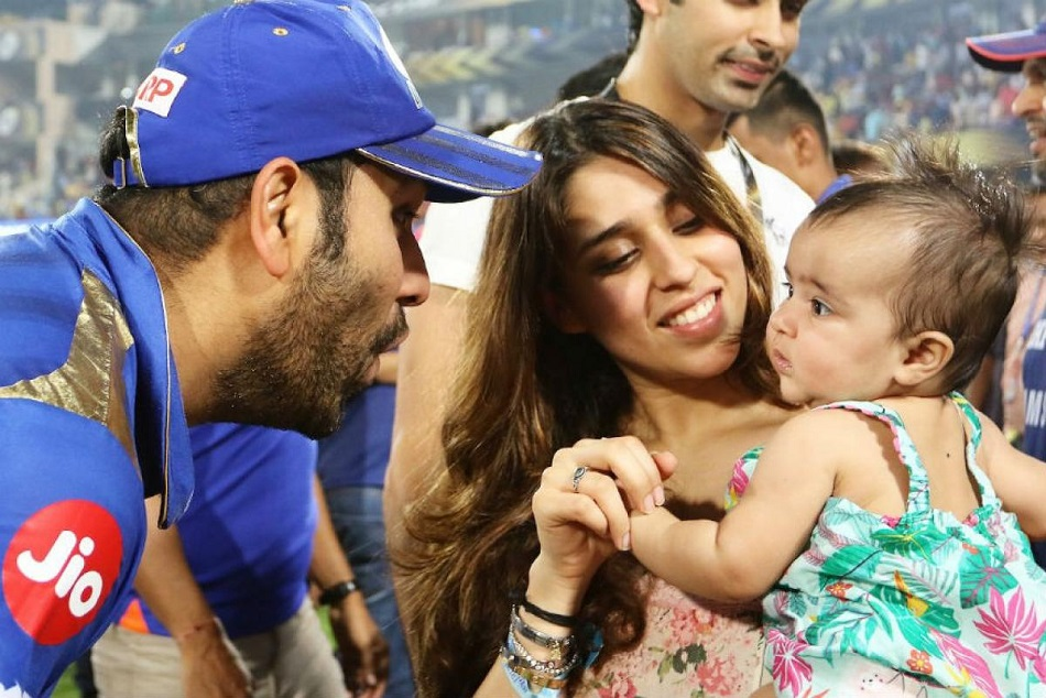 Rohit Sharma Celebration With His Daughter Samaira And Wife Ritika Sajdeh