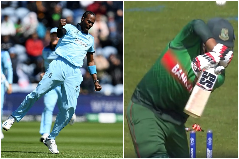 Jofra Archer's ball landing beyond the ropes after hitting the off stump of Soumya Sarkar, Watch