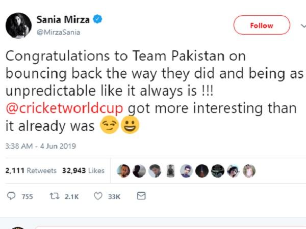 सानिया ने भी किया ट्वीट-