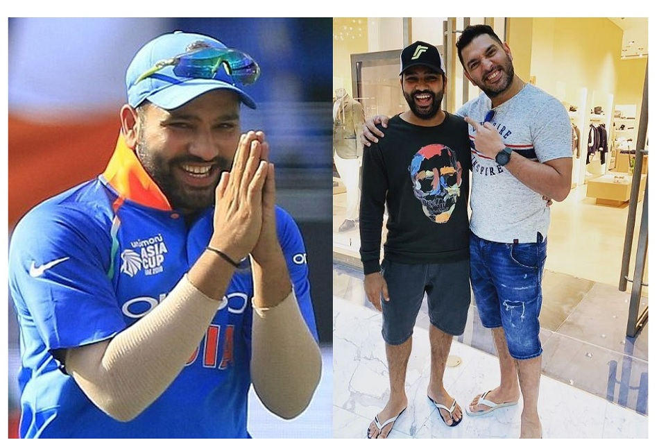 Rohit-Yuvraj was wearing a pair of slippers and shorts, brother-in-laws have a lot of fun together.