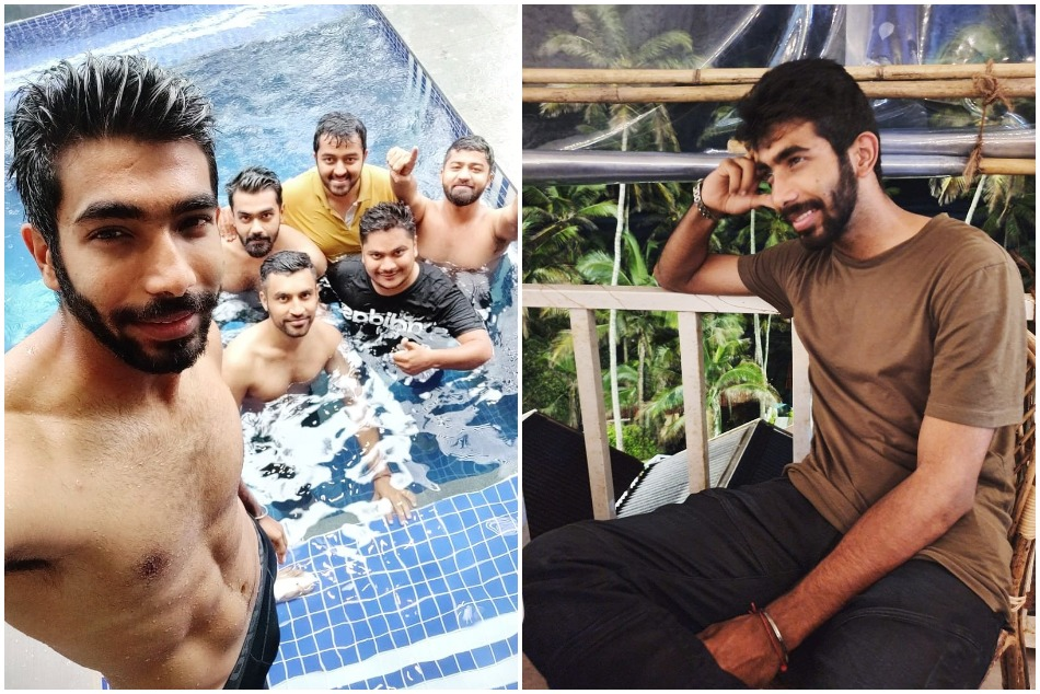 jasprit bumrah flaunts his six pack abs during fun times in swimming pool