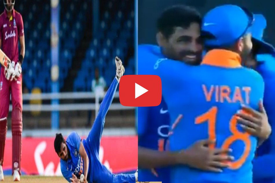 Bhuvneshwar Kumar took stunner as he caught and bowled Roston Chase, Watch
