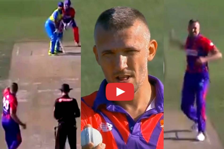 Romanian cricketers unusual bowling action goes viral in European Cricket League