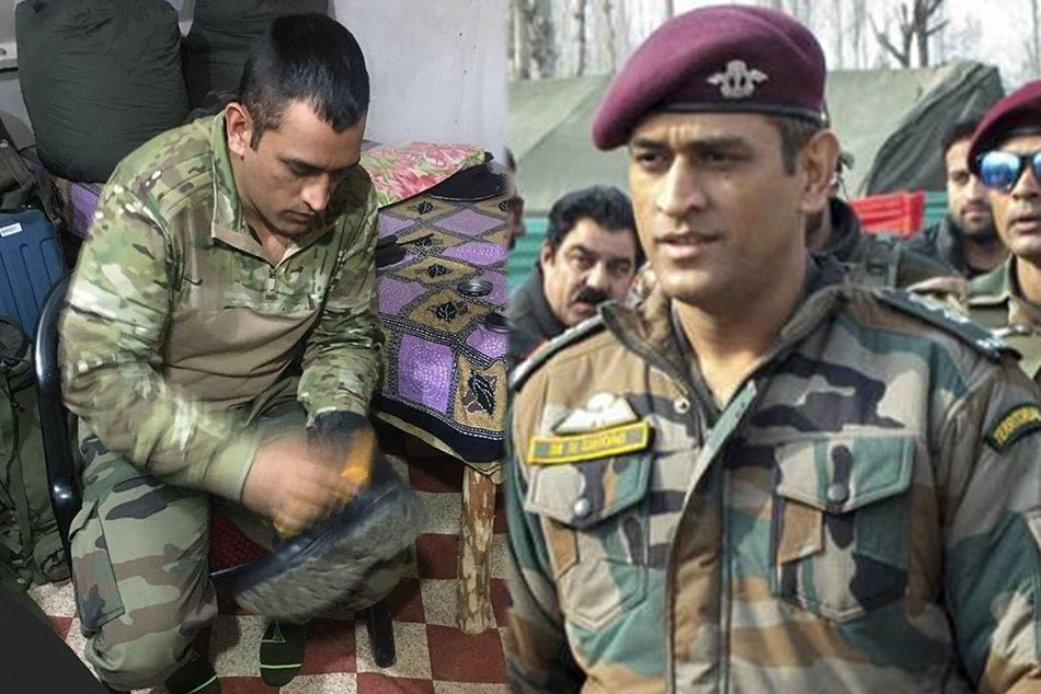 MS Dhonis photo leaked while policing shoes in Army uniform in Kashmir