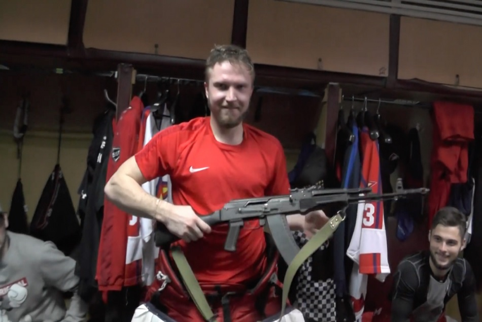 Russian ice hockey Goalkeeper Saveli Kononov Gets AK-47 for his Man of the Match