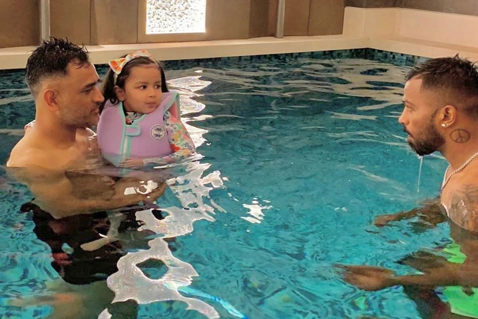 baby Shark Jeeva Dhoni have in the swimming pool with Dad Dhoni and Hardik pandya