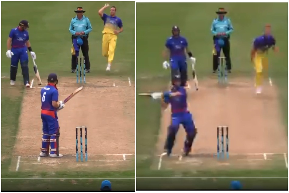 New Zealand batsman hit six in a peculiar manner, ICC surprised which shot is this, Watch