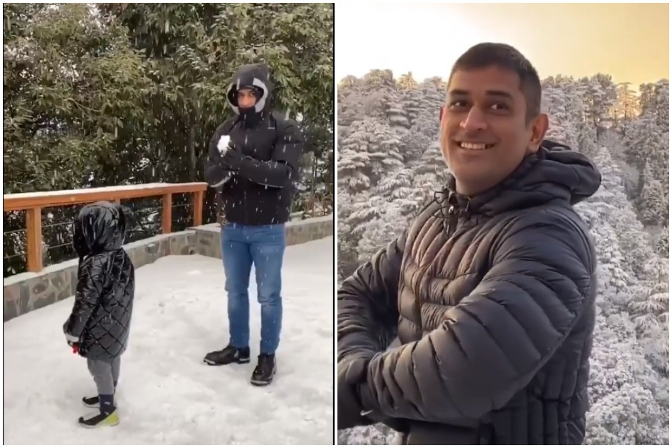 MS Dhoni enjoying the vacations on first snowfall of 2020 in Mussoorie, Watch