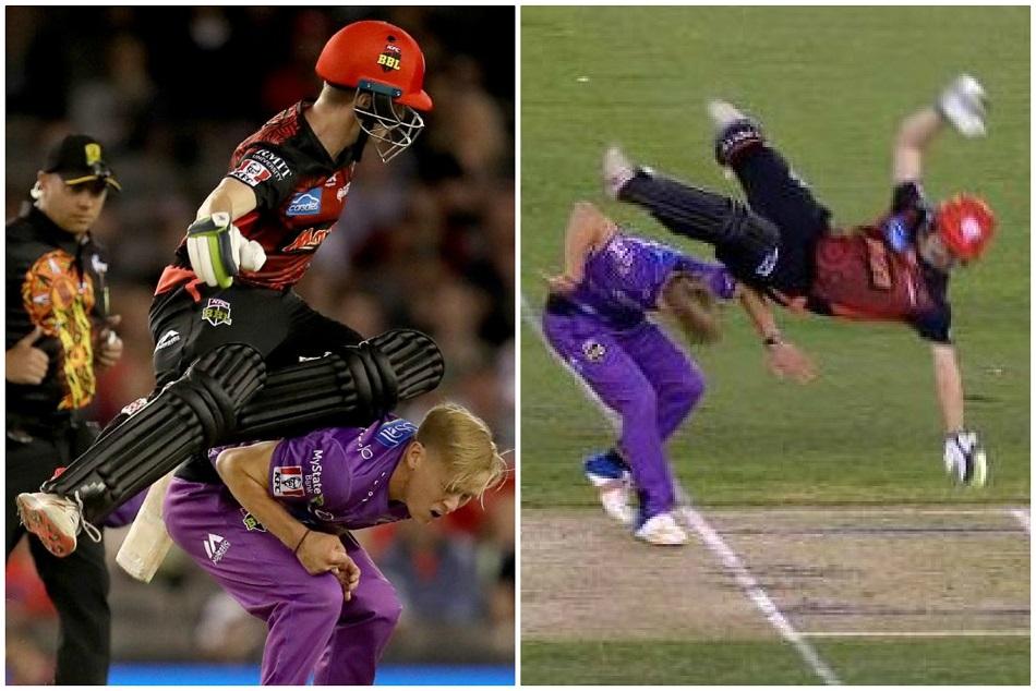 रन लेते समय बल्लेबाज के साथ हुआ बड़ा हादसा, देखते ही सबके उड़ गए होश