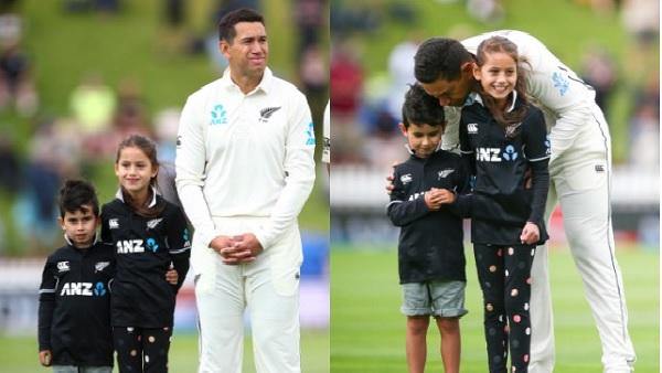 100वें टेस्ट में अपने बच्चों के साथ टेलर-