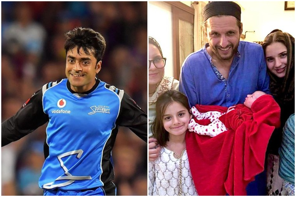 Shahid Afridi annouce reward for fan who suggest best name of his daughter, Rashid Khan replies