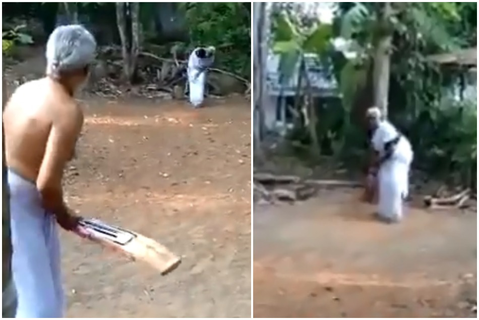 Senior couple cricket playing video viral, old lady shows her leg spin skills to husband and sons