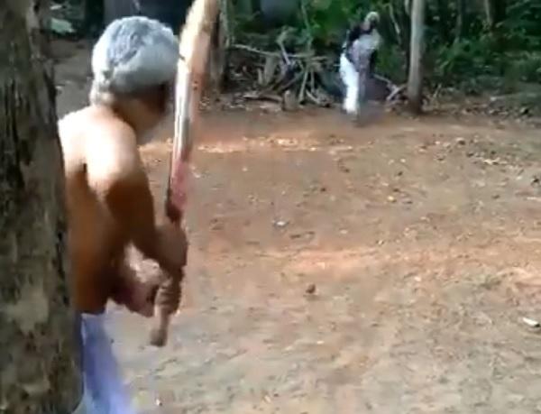 केरल राज्य के बुजुर्ग दंपति ने खेला क्रिकेट-