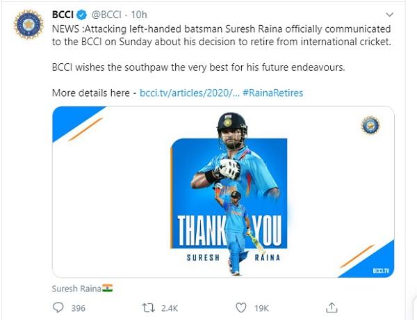 रैना ने अगले दिन बीसीसीआई को आधिकारिक सूचना दी-