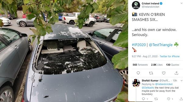 आठ छक्के मारे, एक छक्का कार पर गिरा-